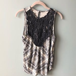 Maurices Blue Gray and White Lace Tank Size M